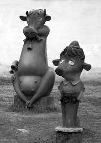 «Веселая корова». Скульптор: Б.И. Фадеев. Расположение: возле здания молокозавода